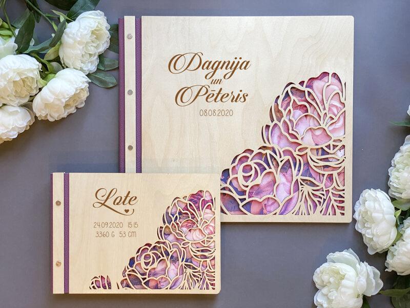 Foto albums Dizains Nr.28 ar ādas maliņu