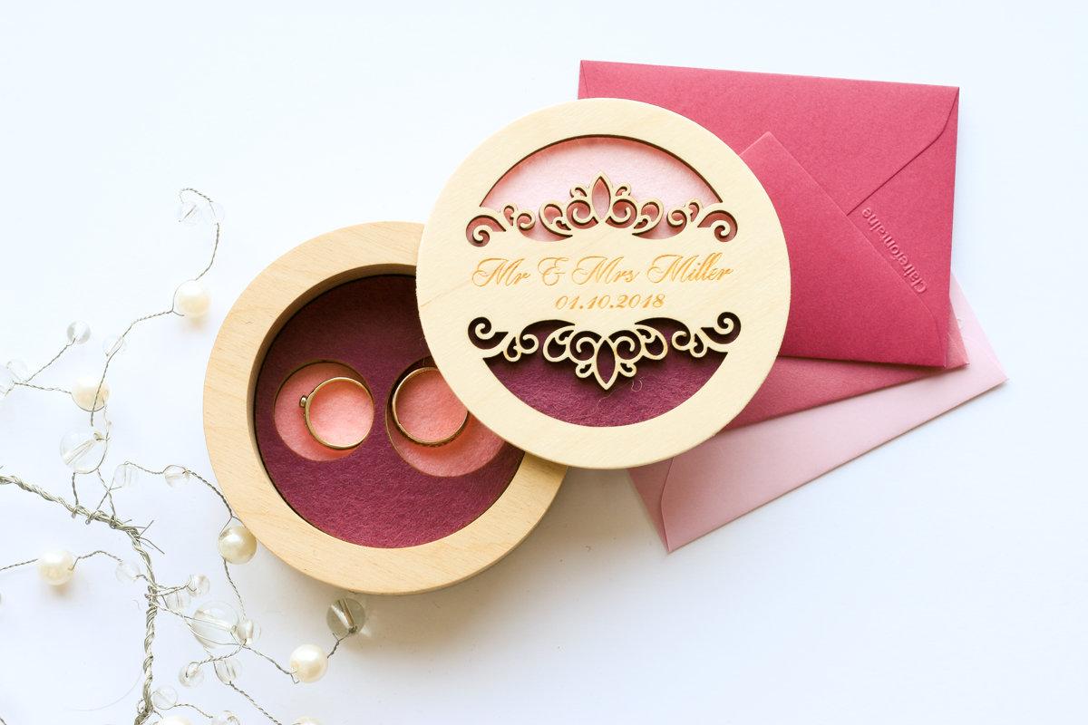 Divkrāsaina kārbiņa ar gredzenu vietu iedziļinājumiem pamatnē un ornamentu uz vāka